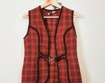 Genuine Vintage 60s Welsh Wool Woven Orange and Brown Waistcoat/Vest in Medium.