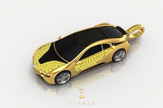 14k 18k Solid Gold BMW I8 Diamond Pendant