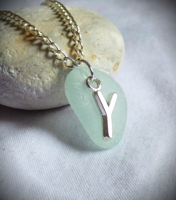 Initial Y Seaglass Pendant, Initial Y Jewelry, Initial Y Jewellery, Initial Y Sea Glass Necklace, Letter Pendant, Letter Y Necklace -PC17025