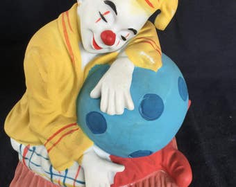 Clown Vintage Collectable Porcelain Hand Painted Circus Clown Sleeping on Large Blue Ball Having Sweet Dreams Fine Porcelain Figurine Gift