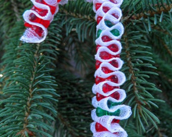 Christmas Ornament Vintage Lace Candy Cane, decoration, retro holiday, childhood memories