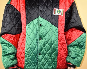Reserved**90s Cross Colours Quilted Satin Jacket Vtg Vintage Rare Color Block Early 90s Hip Hop