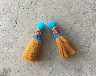 Handmade Women Jewelry Tassel Earring With Embroidered Lace & Tiny Pompom