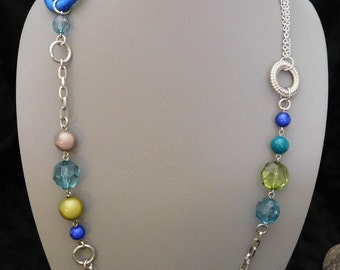 "40"" Blue and Green Beaded Chain Necklace"