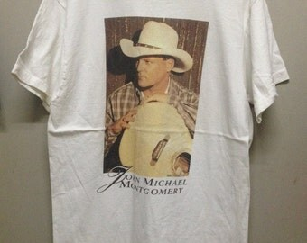 90s Vintage John Michael Montgomery Tour 96-97 shirt size L Made in USA