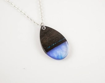 Ebony wood and resin chrysocolla inlay necklace. Gift Necklace.