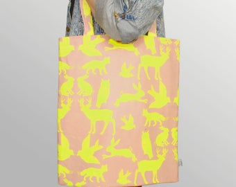 Doubleface Shopper – woodland pink/yellow