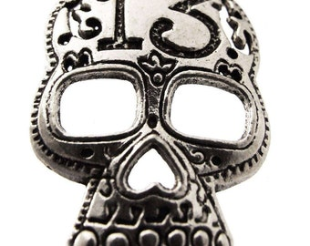 2 Day Of The Dead Sugar Skull Charms Silver Plated Brass 13 Halloween 40mm