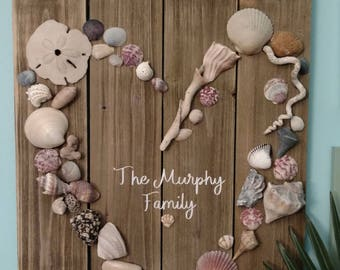 Personalized Wooden Seashell Sign