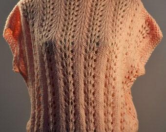 Hand CROCHET pink SLASH neck short sleeved top. Handmade in the 60s/70s