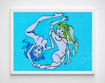 Female Nude Art, Female Print, Female Nudity Print, Female Nude, Nude Art, Nude, Watercolor Art, Eternity Art, Eternity Art Print, Eternity