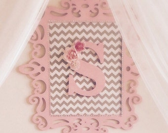 Baby Girl, Nursery Monogram Wall Art, Wood, Fabric, and Rhinestone Embellishments