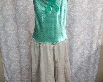 Green Hippie Dress, Festival Dress, Upcycled boho festival dress