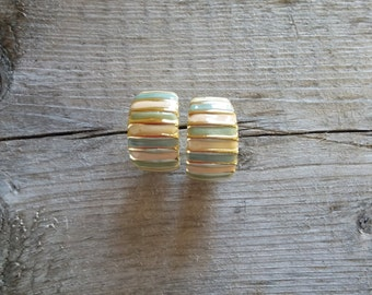 Vintage Striped Enamel Earrings-Retro Earrings-Coral and Green-Gold Earrings-Free Shipping-Gift Box Included