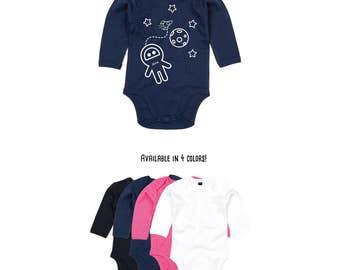 Baby astronaut romper, longsleeve romper, personalized romper, space romper, customizable romper, rocket romper, moon romper, space ship