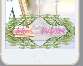 Wedding Snapchat Filter, Laurel leaves, leaf, leaf frame, Snap Chat Geofilter