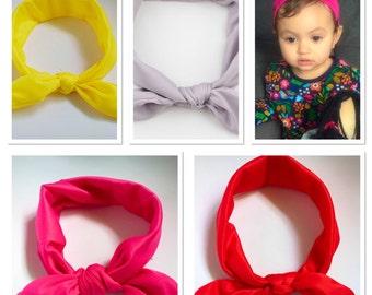 Baby girls headband, Knot headband, baby turban headband, pink headband, red headband, yellow headband, grey Headband