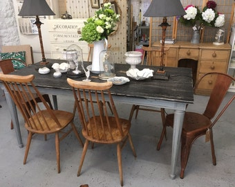 Vintage dining table, wooden dining table, eight seater dining table