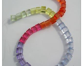 Transparent cube beads, Acrylic beads, Cube beads, Jewellery making, Craft beads, Beads, Transparent, 7mm, Cube, Multicolour