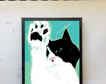 Duvet Portrait Art Print • Cat Art, Cat On Bed, Sleepy Cat Art, Tuxedo Cat, Cat Lover, Holiday Gift, Cat Wall Decor, Digital Art Print, 8x10