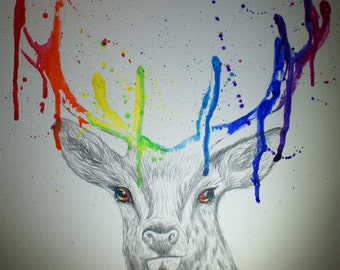 Multicoloured Abstract Stag