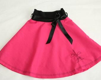 Paris embroidered skirt, girl skirt, toddler skirt, circle skirt, pink skirt, summer outfit, elastic waist skirt, customised made to order