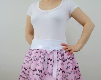 Pink dog print skirt, women skirt, bubble skirt, summer skirt, balloon skirt, cotton skirt, pink skirt, ruffle skirt, elastic waist skirt