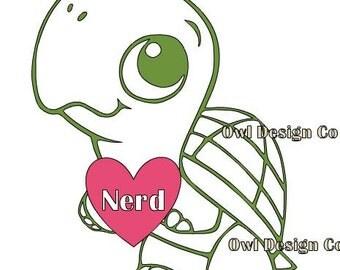 Turtle Nerd Love Decal