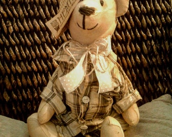 Teddy Bear - Old Time - Hand Painted - Heavily Stained - Vintage - Rustic - Primitive - Folk - Clothed Doll
