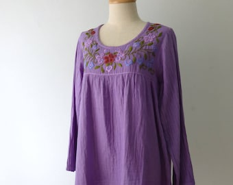 Long Sleeve Tops, Purple Blouse with Hand Embroidery