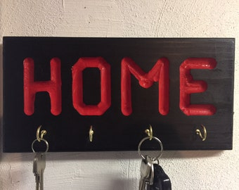 Key Holder - Black with Red Letters