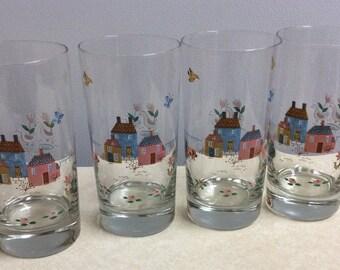 Vintage Heartland International 4 Glasses 12 Oz Farm Scene - Birds