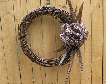 Grapevine Wreath, Animal Print, Brown Zebra Print Bow, with Feathers, Door or Wall Hanger