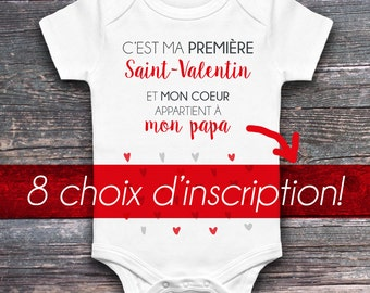 """Onesie for baby """"is my first Valentine's day and my heart belongs to-"""", onesie, white, 4 sizes, unisex, gift"""
