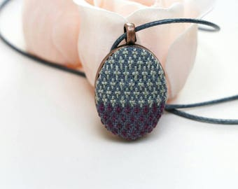 Cross stitch jewelry, pendant necklace, modern cross stitch cross stitch pendant, geometric necklace, embroidered jewelry, handmade necklace