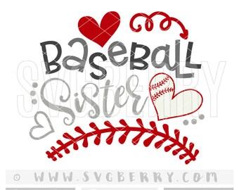 Baseball Sister SVG / sister gift / baseball gifts for sister / big sister shirt / baseball mom / cut files cutting files /baseball shirt/Bg