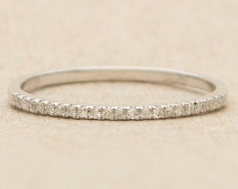 Ready to ship! Micro Pave Diamond 18K Gold Thin Wedding Band Ring AD1104