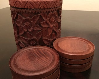 Vintage Carved Rosewood Coasters and Canister Set