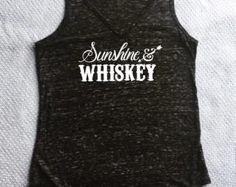 Sunshine and Whiskey V-neck Tank Top - Women's Whiskey Tank Top - Sunshine & Whiskey