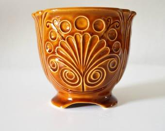 Vintage German Democratic Republic GDR flower pot Brown ceramic Germany