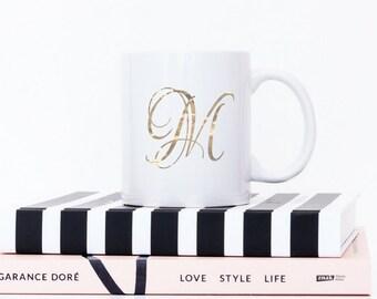 Monogram Mug | Gold Monogram Coffee Mug | Monogrammed Mug | Personalized Coffee Mug | Initial Mug | Monogram Gift | Personalized Gift