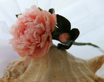 Peach Peony flower,artificial flowers,Made to order,gifts,Flower Arrangement,Cold porcelain,Home Decor,Clay flowers, Real touch peony, Craft