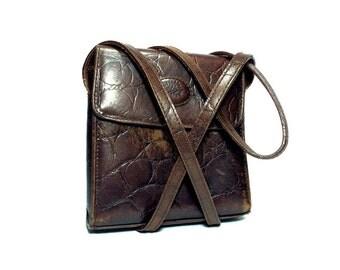 Vintage genuine leather bag, Genuine leather crossbody bag, Embosed leather bag, Crossbody genuine leather bag, Messenger bag