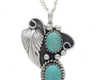Navajo Two Stone Turquoise Pendant Sterling Nature Design