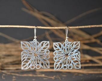 Silver earrings, handmade earrings, openwork earrings, artisan jewelry, dangle earrings, native jewelry, elegant earrings.