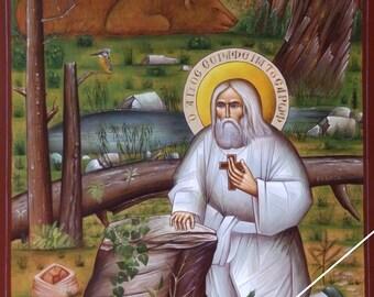 Saint Seraphim of Sarov, orthodox icon, byzantine, original, Преподобный Серафим, Саровский чудотворец, Άγιος Σεραφείμ του Σαρώφ, αγιογραφία