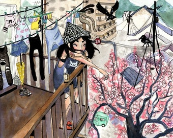 Balcony in Japan. Watercolor Print.