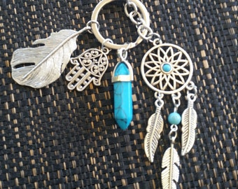 Dreamcatcher keyring with blue turquoise pendant