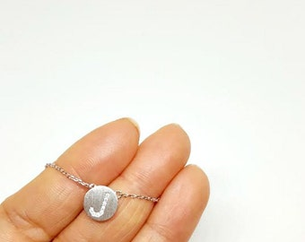 SALE: Silver Pavé Initial Necklace, Dainty Necklace, Tiny Initial Necklace, Silver cz initial necklace, Delicate Initial Necklace
