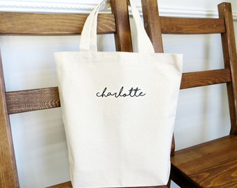 Canvas Tote Bag with Personalized Name // Bridesmaid Gifts